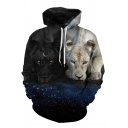 Black and White Leopard Wolf 3D Printed Long Sleeve Loose Pullover Hoodie