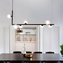Bubble Island Lamp Modernist 7 Bulbs Clear Glass Ceiling Pendant Light in Black for Dining Room