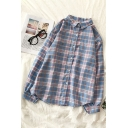Popular Girls' Long Sleeve Lapel Neck Button Down Plaid Printed Oversize Shirt