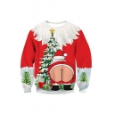 Ugly Christmas Santa Tree 3D Print Long Sleeves Oversized Sweatshirt in Red