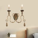 Candle Metal Wall Mount Light Fixture Countryside 2 Lights Bedroom Sconce in Gold/White