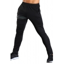 Men's Leisure Outdoor Stripe Printed Drawstring Waist Black Joggering Pants