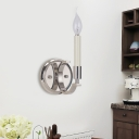 1/4 Lights Metal Wall Mounted Light Countryside Style Silver Curved Arm Bedside Sconce