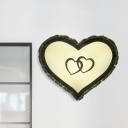 White Heart-Shaped Wall Lamp Minimal LED Beveled Crystal Wall Mounted Lighting in Warm/White Light