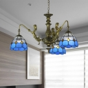 Blue Mermaid Chandelier Light Fixture Mediterranean 3/5/9 Bulbs Multicolored Stained Glass Pendant Lamp for Kitchen