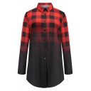 Women Fashion Casual Long Sleeve Lapel Neck Button Down Plaid Print Ombre Loose Fit Shirt in Red