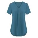 Basic Plain Short Sleeve V-Neck Pleated Relaxed Fit Longline T Shirt for Women
