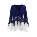 Stylish Ladies' Bell Sleeve V-Neck Floral Applique Mesh Patched Fitted Tee
