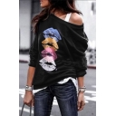 Casual Trendy Long Sleeve Drop Shoulder Lips Printed Relaxed Fit Pullover Sweatshirt for Ladies