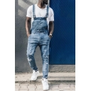 Mens Street Fashion Light Blue Ripped Detail Overall Jeans Basic Denim Jumpsuits
