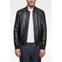 Cool Men Stand Collar Long Sleeves Full-Zip Loose Fit Black Faux Leather Jacket