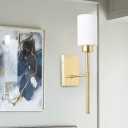 Modern 1 Bulb Sconce Light Brass Cylindrical Wall Lighting Fixture with White Glass Shade