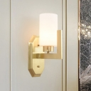 1 Bulb Tubular Wall Lamp Modernism Opal Frosted Glass Sconce Light Fixture in Gold