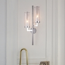 Modern Pencil Arm Sconce Metal 2 Heads Wall Mount Light Fixture in Chrome with Tube Crackle Glass Shade