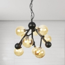 Sphere Bedroom Chandelier Lighting Modernism Amber Glass 9 Bulbs Pendant Light Fixture