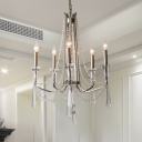 Classic Candle Pendant Chandelier 5/6 Lights Crystal Hanging Lamp Kit in Chrome for Living Room