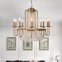 Brass Beaded Chandelier Lighting Rustic Crystal 6/8/10 Lights Living Room Suspension Lamp