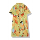 Popular Girls' Short Sleeve Lapel Neck Button Front Abstract Pattern Midi Oversize Shirt Dress in Yellow