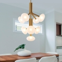 Modern 9 Heads Chandelier Light Gold Round Suspended Lighting Fixture with Frosted Glass Shade