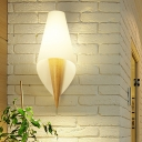 Chinese 1 Head Sconce Light Beige Wide Flare Wall Mounted Lighting with White Glass Shade