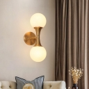 2 Heads Round Wall Lighting Modernist Opal Glass Sconce Light Fixture in Brass for Stairway