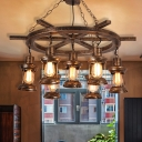 Lantern Metal Chandelier Lighting Farmhouse 5/7 Lights Living Room Pendant Light Kit in Bronze