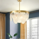 Crystal Round Chandelier Lighting Minimalist 6 Lights Dining Room Ceiling Hang Fixture in Brass