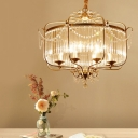 Round Crystal Chandelier Lighting Fixture Minimalism 6/8 Lights Living Room Hanging Lamp Kit in Gold/Light Gold