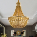 Crystal Gold Chandelier Light Fixture Basket 8 Lights Countryside Ceiling Suspension Lamp
