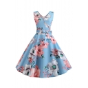 Ladies Dressy Sleeveless Surplice Neck Bow Tie Waist All Over Floral Printed Midi Pleated Pageant A-Line Dress
