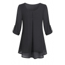 Women's Basic Plain Roll Up Sleeve Round Neck Button Front Pleated Mesh Relaxed Blouse Top