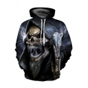 Men's Terrible Skull 3D Pattern Long Sleeves Relaxed Fit Pullover Hoodie