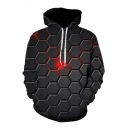 Guys Simple Allover Hexagon Print Long Sleeve Relaxed Fit 3D Hoodie