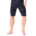 Classic Stripe Side Zipper Fly Skinny Fit Black PU Leather Shorts