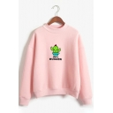 Lovely Cactus NOT A HUGGER Letter Printed Long Sleeve Casual Graphic Sweatshirt