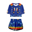 Girls Popular Letter Color Block Geometric Cartoon Pattern Crop T-Shirt with Dolphin Shorts