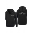 Exclusive Letter PERFECT Printed Long Sleeves Zipper Placket Unisex Sports Hoodie