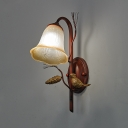1/2-Light Wall Mount Light Traditional Style Bell Amber Glass Sconce Light Fixture in Copper