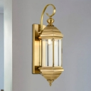 1/3-Head Lantern Sconce Light Fixture Traditional Brass Metal Wall Light Sconce for Outdoor, 6