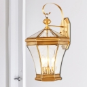 Geometric Stairs Sconce Light Traditionalism Metal 3-Bulb Gold Wall Light Fixture