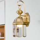 1-Head Lantern Sconce Light Fixture Traditional Brass Metal Wall Light Sconce for Balcony