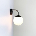 Ball Shape Sconce Light Minimalist Milky Glass 1 Bulb Golden/Black Wall Lamp Kit
