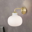 Matte White Glass Gourd Sconce Light Retro 1 Bulb Brass Finish Wall Mounted Lamp
