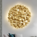 Dark Coffee/Gold 4 Bulbs Wall Sconce Lamp Contemporary Aluminum Round Wall Light with Leaf Design