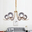 Global Ceiling Chandelier Light Modernist Style Clear Glass 6/8/10 Lights Gold Suspension Light with Curved Arm