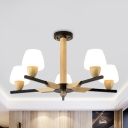 Modern Style Cup Shaped Chandelier Lamp Frosted White Glass 5/8 Bulbs Bedroom Hanging Light Fixture in Black