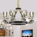 Round Pendant Chandelier Traditionalism Crystal 6/8 Heads Black Ceiling Light for Bedroom