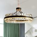 Modernist Ring Ceiling Chandelier Faceted Clear Crystal Prism LED Living Room Pendant Light Fixture in Black