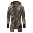 Mens Popular Khaki Camouflage Printed Long Sleeve Open Front Tunic Hoodie Coat