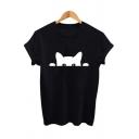 Lovely Cat Letter THE BLACK CAT Printed Short Sleeve Crewneck Leisure T-Shirt